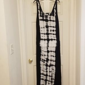 Black/white tie dye maxi dress with cut out back